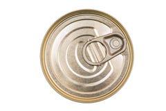 Καλύψτε τα δοχεία κασσίτερου Η τοπ άποψη του α μπορεί τρόφιμα που απομονώνονται Στοκ Εικόνες