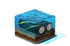 Καλώδια κάτω από το νερό στο κατώτατο σημείο Στοκ εικόνες με δικαίωμα ελεύθερης χρήσης