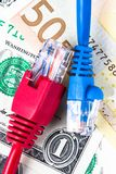 Καλώδια Ethernet με το υπόβαθρο χρημάτων Στοκ φωτογραφίες με δικαίωμα ελεύθερης χρήσης