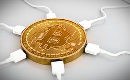 Καλώδια USB που συνδέονται με το Bitcoin ελεύθερη απεικόνιση δικαιώματος