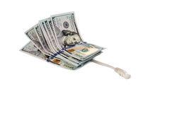 Καλώδιο Διαδίκτυο και χρήματα Στοκ φωτογραφία με δικαίωμα ελεύθερης χρήσης