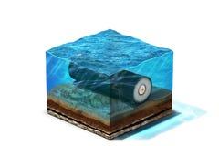 Καλώδιο κάτω από το νερό στο κατώτατο σημείο Στοκ φωτογραφία με δικαίωμα ελεύθερης χρήσης