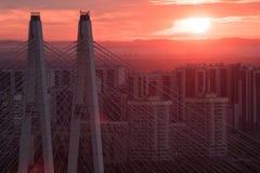 Καλώδιο-μένοντη πυλώνες γέφυρα ενάντια στο σκηνικό μιας κατοικήσιμης περιοχής της Αγία Πετρούπολης Ρωσία Στοκ Εικόνες