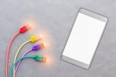 Καλώδιο USB για το smartphone στο γκρίζο υπόβαθρο Στοκ Φωτογραφία
