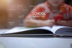 Κείμενα καταλόγων σχολικών θεμάτων με το υπόβαθρο παιδιών παιδικών σταθμών, καθόταν και διάβαζε ένα βιβλίο στον άσπρο πίνακα στοκ εικόνα
