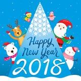 Κείμενο, Άγιος Βασίλης, τάρανδος, χιονάνθρωπος και Fri καλής χρονιάς 2018 Στοκ φωτογραφίες με δικαίωμα ελεύθερης χρήσης
