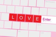 Κείμενο αγάπης στο πληκτρολόγιο απεικόνιση αποθεμάτων