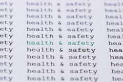 Κείμενο/δακτυλογραφημένες υγεία & ασφάλεια φράσης Στοκ φωτογραφία με δικαίωμα ελεύθερης χρήσης