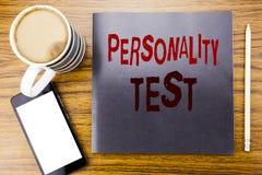 Κείμενο ανακοίνωσης γραφής που παρουσιάζει επιχειρησιακή έννοια δοκιμής προσωπικότητας για την αξιολόγηση της τοποθέτησης που γρά Στοκ Φωτογραφία