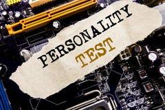 Κείμενο ανακοίνωσης γραφής που παρουσιάζει επιχειρησιακή έννοια δοκιμής προσωπικότητας για την αξιολόγηση της τοποθέτησης που γρά Στοκ Εικόνα