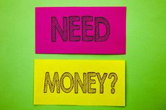 Κείμενο ανακοίνωσης γραφής που παρουσιάζει ερώτηση χρημάτων ανάγκης Εννοιολογική κρίση χρηματοδότησης φωτογραφιών οικονομική, δάν στοκ εικόνες