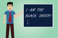 Κείμενο γραφής που γράφει είμαι τα μαύρα πρόβατα Έννοια έννοιας διαφορετική από άλλους αρχικός μοναδικός σε ένα άτομο ομάδας με διανυσματική απεικόνιση