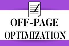 Κείμενο γραφής που γράφει μακριά τη βελτιστοποίηση σελίδων Έννοια που σημαίνει ιστοχώρου την εξωτερική ταξινόμηση μεθόδου διαδικα απεικόνιση αποθεμάτων