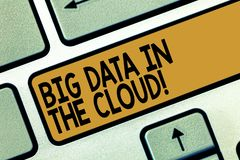 Κείμενο γραφής που γράφει τα μεγάλα στοιχεία στο σύννεφο Έννοια που σημαίνει τη σε απευθείας σύνδεση σύγχρονη αποθήκευση αρχείων  στοκ εικόνα με δικαίωμα ελεύθερης χρήσης