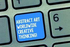 Κείμενο γραφής που γράφει την αφηρημένη τέχνη παγκοσμίως δημιουργική σκέψη Έννοια που σημαίνει τη σύγχρονη έμπνευση καλλιτεχνικά στοκ φωτογραφία