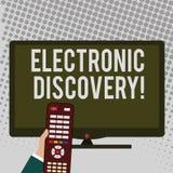 Κείμενο γραφής που γράφει την ηλεκτρονική ανακάλυψη Έννοια που σημαίν διανυσματική απεικόνιση