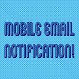 Κείμενο γραφής που γράφει την κινητή ανακοίνωση ηλεκτρονικού ταχυδρομείου Έννοια που σημαίνει το μήνυμα ηλεκτρονικού ταχυδρομείου απεικόνιση αποθεμάτων