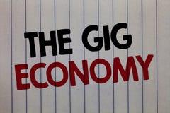 Κείμενο γραφής που γράφει την οικονομία συναυλιών Έννοια που σημαίνει την αγορά της βραχυπρόθεσμης ανεξάρτητης εργασίας προσωρινό στοκ εικόνες