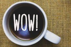 Κείμενο γραφής που γράφει τη wow κινητήρια κλήση Έννοια που σημαίνει την έκφραση κάποιου βουβός κατάπληκτος ενθουσιασμένος καφές  Στοκ Εικόνες