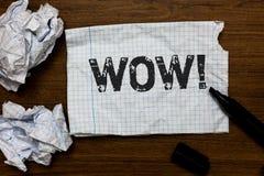 Κείμενο γραφής που γράφει τη wow κινητήρια κλήση Έννοια που σημαίνει την έκφραση κάποιου βουβά κατάπληκτα ενθουσιασμένα έγγραφα ι Στοκ Φωτογραφία