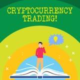 Κείμενο γραφής που γράφει τις εμπορικές συναλλαγές Cryptocurrency Έννοια που σημαίνει απλά την ανταλλαγή των cryptocurrencies στη ελεύθερη απεικόνιση δικαιώματος