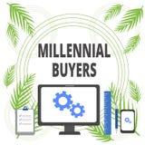 Κείμενο γραφής που γράφει τους χιλιετείς αγοραστές Έννοια που σημαίνει τον τύπο καταναλωτών που ενδιαφέρονται για τα τείνοντας πρ διανυσματική απεικόνιση