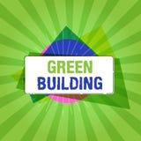 Κείμενο γραφής που γράφει το πράσινο κτήριο Έννοια που σημαίνει τη δομή Α που είναι περιβαλλοντικά αρμόδια βιώσιμη απεικόνιση αποθεμάτων