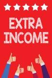 Κείμενο γραφής που γράφει το πρόσθετο εισόδημα Έννοια που σημαίνει το πρόσθετο κεφάλαιο που παραλαμβάνεται ή που κερδίζεται από χ ελεύθερη απεικόνιση δικαιώματος