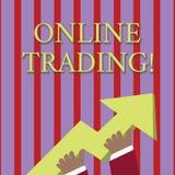 Κείμενο γραφής που γράφει on-line να κάνει εμπόριο Έννοια που σημαίνει την αγορά και που πωλεί οικονομικά τα προϊόντα στη φωτογρα διανυσματική απεικόνιση