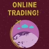 Κείμενο γραφής που γράφει on-line να κάνει εμπόριο Έννοια που σημαίνει την αγορά και που πωλεί οικονομικά τα προϊόντα στο αεροπλά διανυσματική απεικόνιση