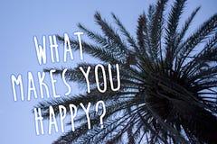Κείμενο γραφής τι σας κάνει την ευτυχή ερώτηση Η έννοια που σημαίνει την ευτυχία έρχεται με την αγάπη και το θετικό ψηλό φοίνικα  διανυσματική απεικόνιση