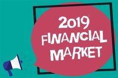 Κείμενο 2019 γραφής χρηματοοικονομική αγορά Έννοια που σημαίνει τη θέση όπου οι εμπορικές συναλλαγές της δικαιοσύνης, δεσμοί, νομ Στοκ Εικόνες
