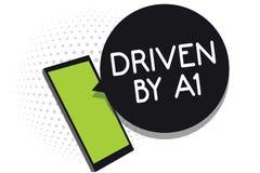 Κείμενο γραφής Drive από το Α1 Κίνηση έννοιας έννοιας ή ελεγχόμενος από έναν οδηγό κορυφαίας ποιότητας στο τηλέφωνο κυττάρων κοιν διανυσματική απεικόνιση