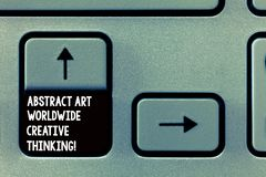 Κείμενο γραψίματος λέξης αφηρημένη τέχνη παγκοσμίως δημιουργική σκέψη Επιχειρησιακή έννοια για τη σύγχρονη έμπνευση καλλιτεχνικά στοκ εικόνες