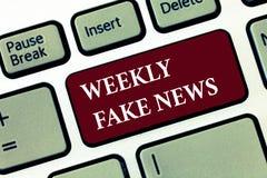 Κείμενο γραψίματος λέξης εβδομαδιαίες πλαστές ειδήσεις Επιχειρησιακή έννοια για την ανακριβή, sensationalistic έκθεση που δημιουρ στοκ εικόνες με δικαίωμα ελεύθερης χρήσης