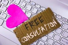 Κείμενο γραψίματος λέξης ελεύθερες διαβουλεύσεις Η επιχειρησιακή έννοια για την ερώτηση κάποιου ειδικού για την έρευνα σύγχυσης π Στοκ Εικόνα