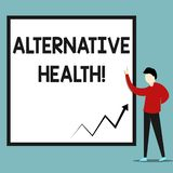 Κείμενο γραψίματος λέξης εναλλακτική υγεία Επιχειρησιακή έννοια για τα προϊόντα και τις πρακτικές που δεν είναι μέρος της τυποποι ελεύθερη απεικόνιση δικαιώματος