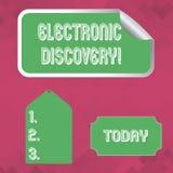 Κείμενο γραψίματος λέξης ηλεκτρονική ανακάλυψη Επιχειρησιακή έννοια  απεικόνιση αποθεμάτων