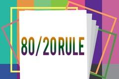 Κείμενο 80 γραψίματος λέξης κανόνας 20 Η επιχειρησιακή έννοια για την αρχή του Παρέτου αποτελέσματα 80 τοις εκατό προέρχεται από  ελεύθερη απεικόνιση δικαιώματος
