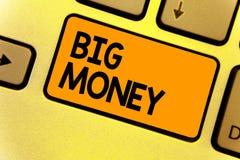 Κείμενο γραψίματος λέξης μεγάλα χρήματα Η επιχειρησιακή έννοια για να αναφερθεί σε πολλά ernings από μια εργασία, επιχείρηση, κλη στοκ εικόνα