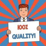 Κείμενο γραψίματος λέξης 100 τοις εκατό ποιοτικά Επιχειρησιακή έννοια για την εγγυημένη καθαρή και καμία επιβλαβή χημική ουσία το διανυσματική απεικόνιση