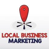 Κείμενο γραψίματος λέξης τοπικό επιχειρησιακό μάρκετινγκ Επιχειρησιακή έννοια για την εντοπισμένη προδιαγραφή στο χαρακτηριστικό  ελεύθερη απεικόνιση δικαιώματος