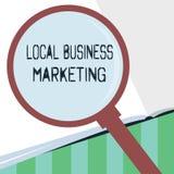 Κείμενο γραψίματος λέξης τοπικό επιχειρησιακό μάρκετινγκ Επιχειρησιακή έννοια για την εντοπισμένη προδιαγραφή στο χαρακτηριστικό  διανυσματική απεικόνιση