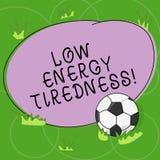 Κείμενο γραψίματος λέξης χαμηλή ενεργειακή κούραση Επιχειρησιακή έννοια για το υποκειμενικό συναίσθημα της κούρασης που έχει τη β διανυσματική απεικόνιση