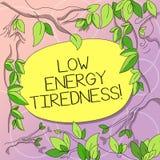 Κείμενο γραψίματος λέξης χαμηλή ενεργειακή κούραση Επιχειρησιακή έννοια για το υποκειμενικό συναίσθημα της κούρασης που έχει το β διανυσματική απεικόνιση