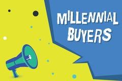Κείμενο γραψίματος λέξης χιλιετείς αγοραστές Επιχειρησιακή έννοια για τον τύπο καταναλωτών που ενδιαφέρονται για τα τείνοντας προ απεικόνιση αποθεμάτων