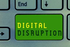 Κείμενο γραψίματος λέξης ψηφιακή διάσπαση Επιχειρησιακή έννοια για τις αλλαγές που έχουν επιπτώσεις στο προϊόν αγορών τεχνολογίας στοκ φωτογραφία με δικαίωμα ελεύθερης χρήσης