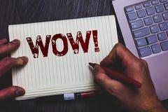 Κείμενο γραψίματος λέξης wow κινητήρια κλήση Επιχειρησιακή έννοια για την έκφραση κάποιου βουβό κατάπληκτο ενθουσιασμένο pe δεικτ Στοκ Φωτογραφία