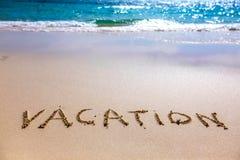 Κείμενο διακοπών στην αμμώδη παραλία Στοκ Εικόνες
