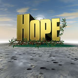 Κείμενο ελπίδας με τις ρίζες Στοκ Εικόνες